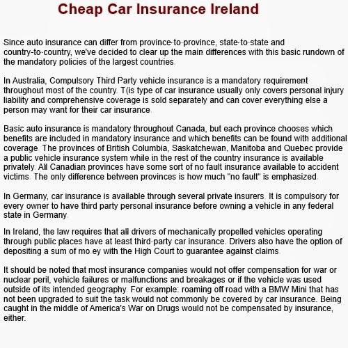 Cheap Car Insurance Ireland The Best Information